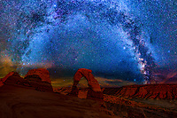 Delicate Arch and Milky Way  Arches National Park, Utah, Free-standing natural arch, Arches National Park, Utah, Free-standing natural arch Arches National Park, Utah, Free-standing natural arch