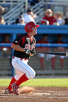 Batavia Muckdogs outfielder Chris Edmondson during a game vs. the State College Spikes at Dwyer Stadium in Batavia, New York August 29, 2010.   Batavia defeated State College 6-4.  Photo By Mike Janes/Four Seam Images
