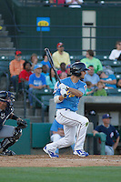 Myrtle Beach Pelicans infielder Daniel Lockhart (7) at bat during a game against the Potomac Nationals at Ticketreturn.com Field at Pelicans Ballpark on May 23, 2015 in Myrtle Beach, South Carolina.  Myrtle Beach defeated Potomac 7-3. (Robert Gurganus/Four Seam Images)