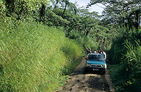 Pick-up truck loaded up with people going to the Monday market in Ipekel Ipekel village on the island of Tanna, Vanuatu.