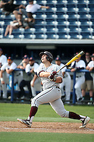 Hunter Melton (50) of the Texas A&M Aggies bats against the Pepperdine Waves at Eddy D. Field Stadium on February 26, 2016 in Malibu, California. Pepperdine defeated Texas A&M, 7-5. (Larry Goren/Four Seam Images)