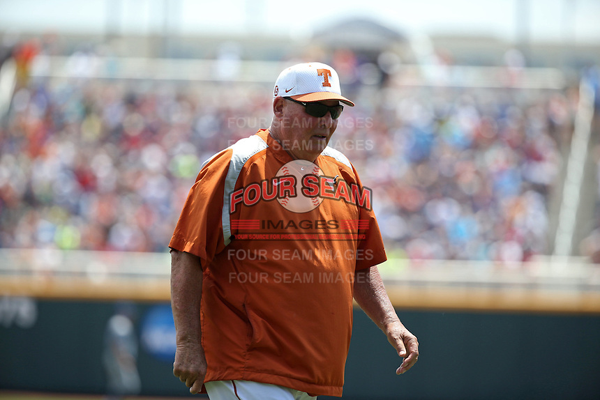 Head coach Augie Garrido of the Texas Longhorns looks on during Game 1 of the 2014 Men's College World Series between the UC Irvine Anteaters and Texas Longhorns at TD Ameritrade Park on June 14, 2014 in Omaha, Nebraska. (Brace Hemmelgarn/Four Seam Images)