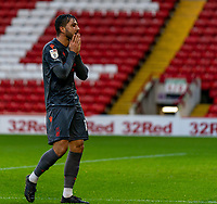 21st November 2020, Oakwell Stadium, Barnsley, Yorkshire, England; English Football League Championship Football, Barnsley FC versus Nottingham Forest; Miguel Ángel Guerrero of Nottingham Forrest after nearly opening the scoring