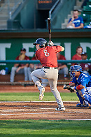Nathan Eaton (8) of the Idaho Falls Chukars at bat in front of catcher Ramon Rodriguez (3) during a game against the Ogden Raptors at Lindquist Field on August 29, 2018 in Ogden, Utah. Idaho Falls defeated Ogden 15-6. (Stephen Smith/Four Seam Images)