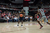 STANFORD, CA - February 17, 2017: Cal Bears Men's Basketball team vs. the Stanford Cardinal at Maples Pavilion. Final score, Cal Bears 68, Stanford Cardinal 73.