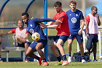 BRADENTON, FL - JANUARY 23: Jeremy Ebobisse, Tristan Blackmon battle for a ball during a training session at IMG Academy on January 23, 2021 in Bradenton, Florida.