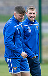 St Johnstone Training…25.10.19<br />David Wotherspoon pictured with Ross Callachan during training this morning at McDiarmid Park ahead of tomorrows game against Hamilton Accies.<br />Picture by Graeme Hart.<br />Copyright Perthshire Picture Agency<br />Tel: 01738 623350  Mobile: 07990 594431
