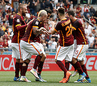 Calcio, Serie A: Roma vs ChievoVerona. Roma, stadio Olimpico, 8 maggio 2016.<br /> Roma's Antonio Ruediger, third from right, partially seen, celebrates with teammates, from left, Daniele De Rossi, Radja Nainggolan, Kostas Manolas, Stephan El Shaarawy, second from right, and Miralem Pjanic, after scoring during the Italian Serie A football match between Roma and ChievoVerona at Rome's Olympic stadium, 8 May 2016.<br /> UPDATE IMAGES PRESS/Isabella Bonotto
