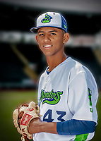 13 June 2018: Vermont Lake Monsters pitcher Abdiel Mendoza poses for a portrait on Photo Day at Centennial Field in Burlington, Vermont. The Lake Monsters are the Single-A minor league affiliate of the Oakland Athletics, and play a short season in the NY Penn League Stedler Division. Mandatory Credit: Ed Wolfstein Photo *** RAW (NEF) Image File Available ***