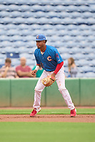 Clearwater Threshers third baseman Kervin Pichardo (47) during a game against the Fort Myers Mighty Mussels on July 29, 2021 at BayCare Ballpark in Clearwater, Florida.  (Mike Janes/Four Seam Images)