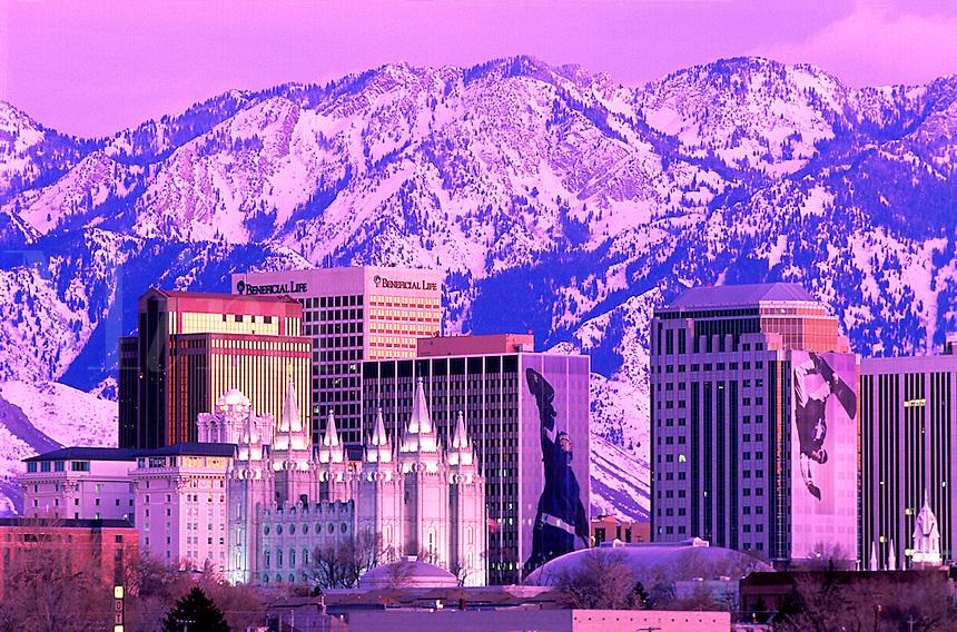 Evening skyline of Salt Lake City, Utah with Salt Lake Temple