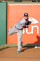 Hagerstown Suns starting pitcher Lucas Giolito (27) warms up in the bullpen prior to the game against the Greensboro Grasshoppers at NewBridge Bank Park on June 21, 2014 in Greensboro, North Carolina.  The Grasshoppers defeated the Suns 8-4. (Brian Westerholt/Four Seam Images)