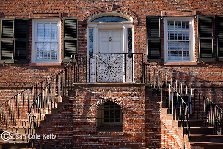 The Isaiah Davenport House and Museum (1820, Federal architecture), in Columbia Square, Savannah, GA, the largest National Historic Landmark District in the United States.