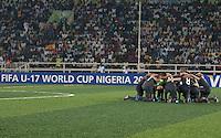 USMNT U17 huddle. Spain defeated the U.S. Under-17 Men National Team  2-1 at Sani Abacha Stadium in Kano, Nigeria on October 26, 2009.