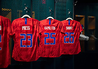 PHILADELPHIA, PA - AUGUST 29: Kristen Hamilton #25 of the United States has her jersey hang in the locker room prior to a game between Portugal and the USWNT at Lincoln Financial Field on August 29, 2019 in Philadelphia, PA.