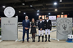 Second placed Marc Houtzager of The Netherlands riding Sterrehof's Edinus and the third placed Quanwei Meng of China riding Clintorado pose for a photo the Maserati Masters Power during the Longines Masters of Hong Kong at AsiaWorld-Expo on 10 February 2018, in Hong Kong, Hong Kong. Photo by Diego Gonzalez / Power Sport Images