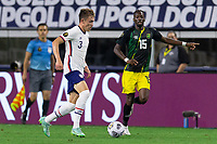 DALLAS, TX - JULY 25: Sam Vines #3 of the United States moves with the ball during a game between Jamaica and USMNT at AT&T Stadium on July 25, 2021 in Dallas, Texas.