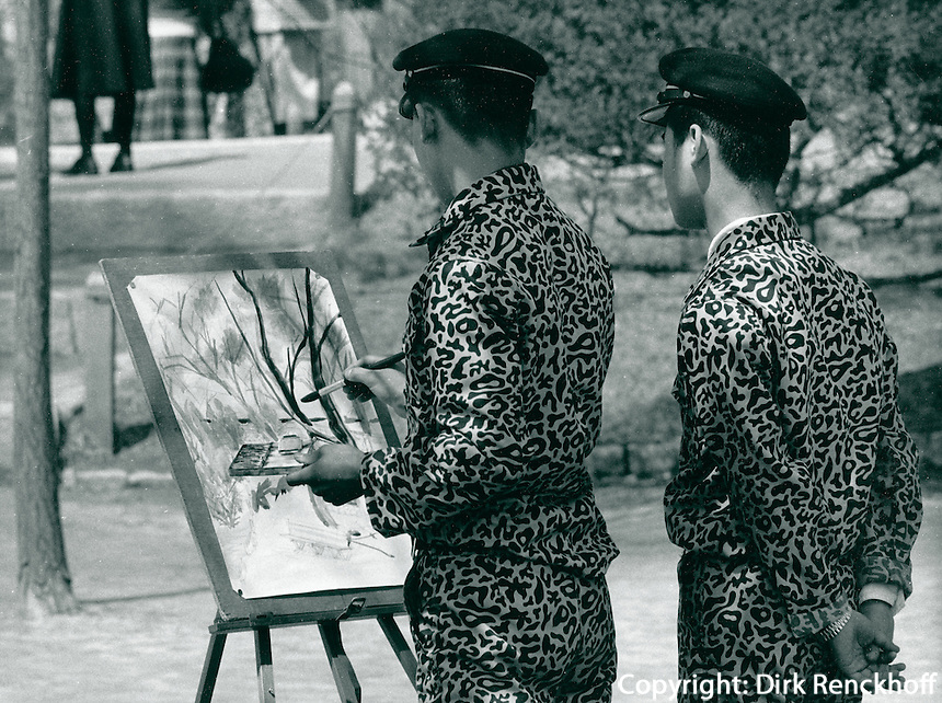 Schüler malen im Park des Kyongbok.Palastes, Korea 1977