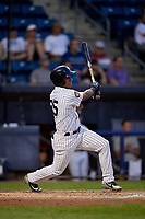 Staten Island Yankees Ezequiel Duran (25) bats during a NY-Penn League game against the Aberdeen Ironbirds on August 22, 2019 at Richmond County Bank Ballpark in Staten Island, New York.  Aberdeen defeated Staten Island 4-1 in a rain shortened game.  (Mike Janes/Four Seam Images)