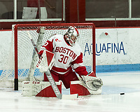BOSTON, MA - JANUARY 04: Corinne Schroeder #30 of Boston University prior to during a game between University of Maine and Boston University at Walter Brown Arena on January 04, 2020 in Boston, Massachusetts.