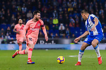 Lionel Messi of FC Barcelona (L) in action against Oscar Duarte of RCD Espanyol (R) during the La Liga 2018-19 match between RDC Espanyol and FC Barcelona at Camp Nou on 08 December 2018 in Barcelona, Spain. Photo by Vicens Gimenez / Power Sport Images