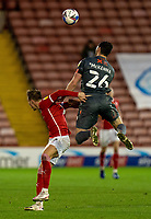 21st November 2020, Oakwell Stadium, Barnsley, Yorkshire, England; English Football League Championship Football, Barnsley FC versus Nottingham Forest; Scott McKenna of Nottingham Forrest wins a header