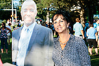 People pose with a cutout of Republican presidential candidate Dr. Ben Carson <br /> at Londonderry Old Home Day in Londonderry, New Hampshire.