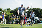 Paul Scholes kicks a football at the 14th hole during the World Celebrity Pro-Am 2016 Mission Hills China Golf Tournament on 22 October 2016, in Haikou, China. Photo by Weixiang Lim / Power Sport Images