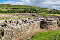 Northumberland,  England, UK.  Vindolanda Roman Fort.  Remains of Baths.