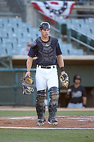 Jamie Ritchie (17) of the Lancaster JetHawks in the field at catcher during a game against the Visalia Rawhide at The Hanger on July 6, 2016 in Lancaster, California. Lancaster defeated Visalia, 10-7. (Larry Goren/Four Seam Images)