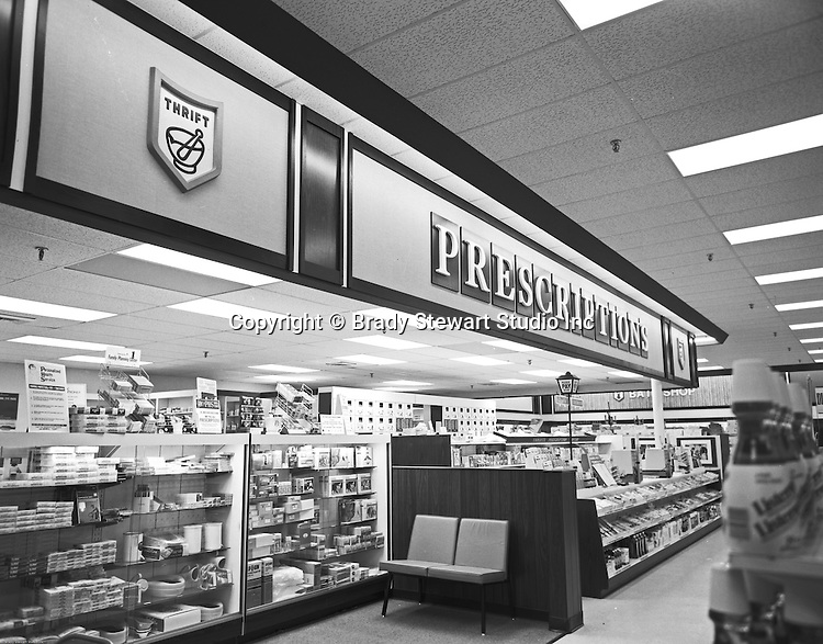 Client: Thrift Drug Stores<br /> Ad Agency:<br /> Contact:<br /> Product: Prescription Drugs<br /> Location: New Thrift Drug Store in Downtown Pittsburgh<br /> <br /> On location photography of a Thrift Drug Store.  Thrift Drug was founded in 1937 and eventually purchased by JC Penny Corp in 1968.  Thrift Drug was a merchandising pickup center for the JC Penny Catalog.