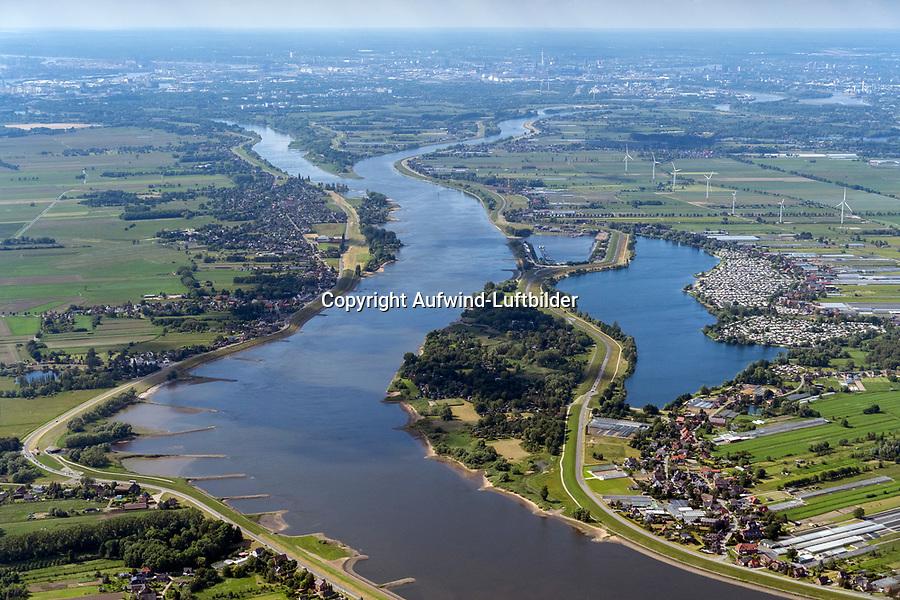 Elbe bei Hamburg in den Vier und Marschlanden: EUROPA, DEUTSCHLAND, HAMBURG, NIEDERSACHSEN (EUROPE, GERMANY), 29.06.2020 Elbe bei Hamburg in den Vier und Marschlanden