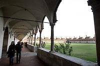 Le celle dei monaci, sullo sfondo, nel Chiostro grande, nella Certosa di Pavia.<br /> Monks' cells, in background, in the Grand Cloister of the Certosa di Pavia.<br /> UPDATE IMAGES PRESS/Riccardo De Luca