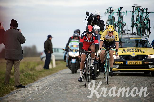Greg Van Avermaet (BEL/BMC), Sep Vanmarcke (BEL/LottoNL-Jumbo) & Zdenek Stybar (CZE/Etixx-QuickStep) try to catch the race leaders over the Lange Munte cobbles just 16 seconds ahead<br /> <br /> Omloop Het Nieuwsblad 2015