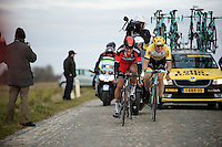 Greg Van Avermaet (BEL/BMC), Sep Vanmarcke (BEL/LottoNL-Jumbo) & Zdenek Stybar (CZE/Etixx-QuickStep) try to catch the race leaders over the Lange Munte cobbles just 16 seconds ahead<br /> <br /> Omloop Het Nieuwsblad 2015