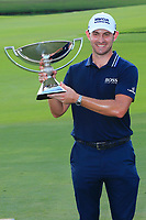 5th September 2021: Atlanta, Georgia, USA;  Patrick Cantlay (USA) holds up the FedEx Cup after winning the TOUR Championship  at the East Lake Club in Atlanta, Georgia.