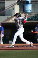 Julio De La Cruz (13) of the Inland Empire 66ers bats against the Stockton Ports at San Manuel Stadium on June 27 2021 in San Bernardino, California. (Larry Goren/Four Seam Images)