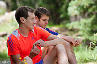 Brothers Alistair and Jonathan Brownlee, British triathletes and Olympic champions, pose for the photographer in the valley around St. Moritz during their summer training stay there, St. Moritz, Switzerland, 25 July 2013