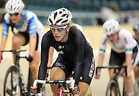 New Zealand's Rushlee Buchanan in the women omnium 20km point race at the UCI Tier 1 Festival of Speed, SIT Zero Fees Velodrome, Invercargill, New Zealand, Saturday, November 16, 2013. Credit:NINZ/Dianne Manson