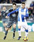 CD Leganes' Ruben Perez (r) and Celta de Vigo's Josep Sene during La Liga match. January 28,2017. (ALTERPHOTOS/Acero)