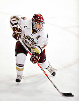 12 November 2010: Boston College Eagle forward Brian Gibbons, a Senior from Braintree, MA, in action against the University of Vermont Catamounts at Gutterson Fieldhouse in Burlington, Vermont. The Eagles edged out the Cats 3-2 in the first game of their weekend series. Mandatory Credit: Ed Wolfstein Photo