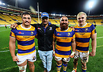 Bay of Plenty Kings College Old Boys L-R, Jordan Lay, Ajay Mua, James Lay and Mitch Karpik during the Mitre 10 Cup Championship Final between Wellington and Bay of Plenty at Westpac Stadium, Wellington,  New Zealand. Friday 27 October 2017. Photo: Simon Watts / www.bwmedia.co.nz