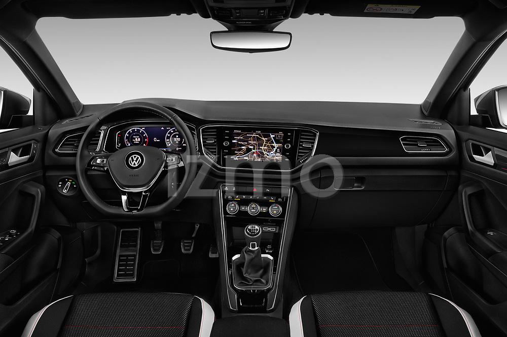 Stock photo of straight dashboard view of a 2018 Volkswagen T-Roc Elegance 5 Door SUV