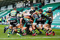 13th March 2021; Franklin's Gardens, Northampton, East Midlands, England; Premiership Rugby Union, Northampton Saints versus Sale Sharks; The Sale Sharks pack advances towards the line for a try