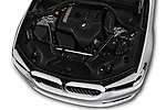 Car stock 2018 BMW 5 Series 530i 2WD 4 Door Sedan engine high angle detail view