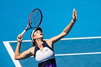 15th February 2021, Melbourne, Victoria, Australia; Donna Vekic of Croatia serves the ball during round 4 of the 2021 Australian Open on February 15, 2021, at Melbourne Park in Melbourne, Australia.