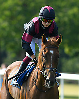 Awesomedude ridden by Ciaren Fallon goes down to the start of The AJN Steelstock Beckie Lawrence Handicap  during Horse Racing at Salisbury Racecourse on 9th August 2020