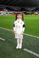 Wednesday, 01 January 2014<br /> Pictured: Mascots.<br /> Re: Barclay's Premier League, Swansea City FC v Manchester City at the Liberty Stadium, south Wales.