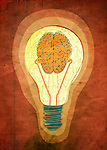 Brainwaves in light bulb over colored background depicting innovating ideas