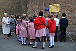 Beating the Bounds at St Botolph without Aldgate London. Ward of Portsoken City of London 2011. Children from the Sir John Cass's Foundation Primary. St Clare Street London boundary.